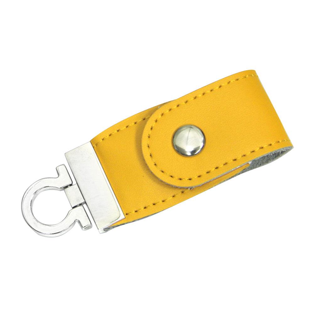 """Флешка Кожаная Меристос Лайт """"Meristos Light Leather"""" N8 желтый 4 Гб"""