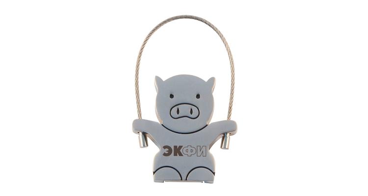 """Флешка Металлическая Свинка Вуди """"Woody Pig"""" R158 с Гравировкой 1+0 и чернением"""
