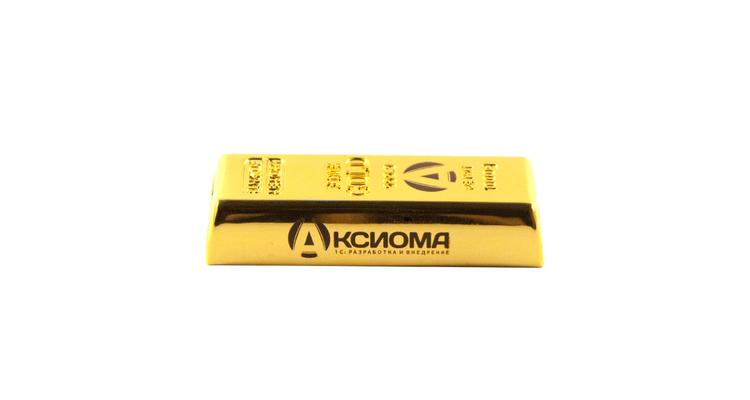 """Флешка Металлическая Золотой слиток """"Gold Bar"""" R352, гравировка, чернение"""