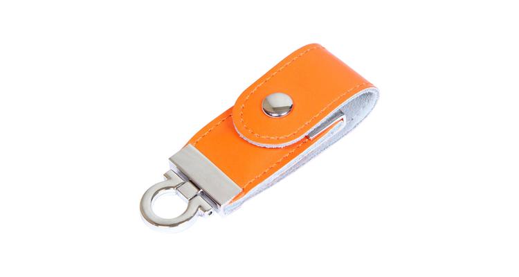 "Флешка Кожаная Меристос Лайт ""Meristos Light Leather"" N8 оранжевый 4 Гб"
