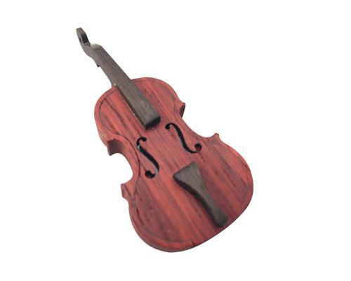 """Флешка Деревянная Скрипка """"Violin Cello"""" F3 коричневая 16 Гб"""