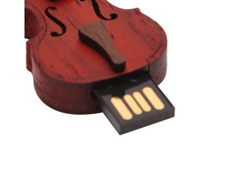 """Флешка Деревянная Скрипка """"Violin Cello"""" F3 коричневая 2 Гб"""