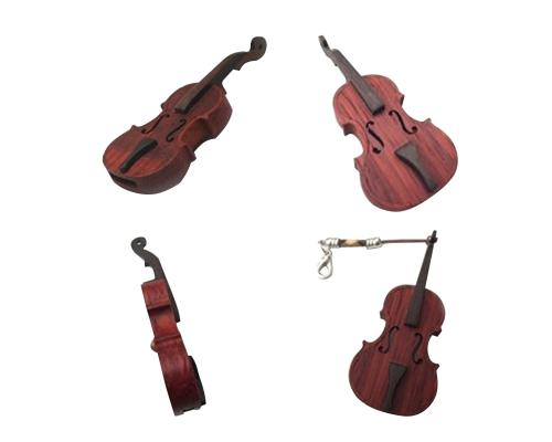 """Флешка Деревянная Скрипка """"Violin Cello"""" F3 коричневая 256 Гб"""