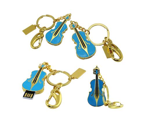 """Флешка Металлическая Скрипка """"Violin Key"""" R4 синый 8 Гб"""