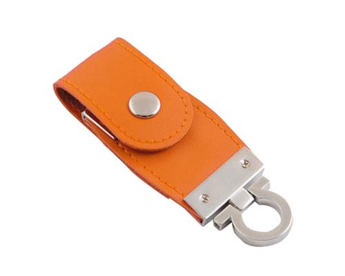 "Флешка Кожаная Меристос Лайт ""Meristos Light Leather"" N8 оранжевый 16 Гб"