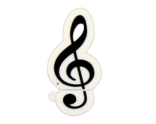 """Флешка Резиновая Скрипичный Ключ """"Treble Clef"""" Q151 белый 1 Гб"""