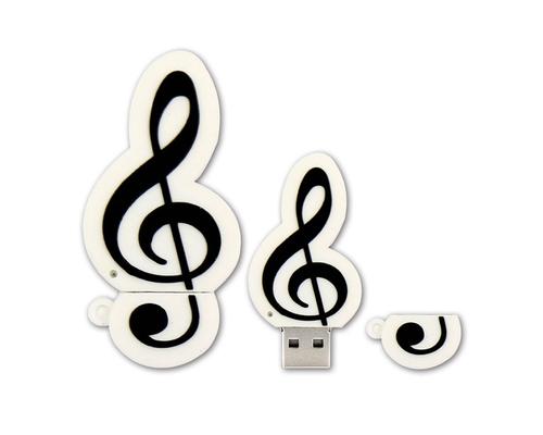 """Флешка Резиновая Скрипичный Ключ """"Treble Clef"""" Q151 белый 256 Гб"""