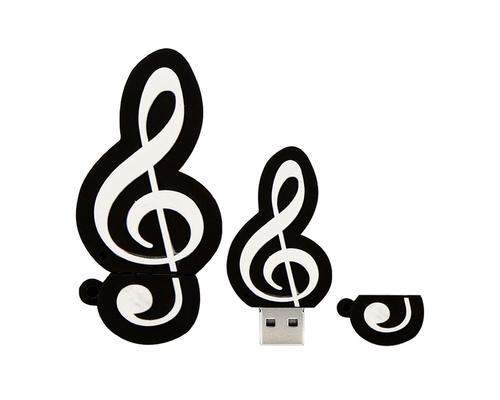 """Флешка Резиновая Скрипичный Ключ """"Treble Clef"""" Q151 черный 128 Гб"""