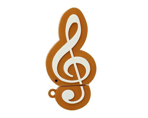 """Флешка Резиновая Скрипичный Ключ """"Treble Clef"""" Q151 оранжево-белый 128 Гб"""