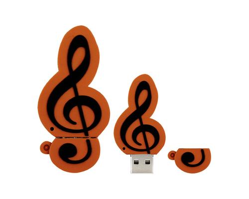 """Флешка Резиновая Скрипичный Ключ """"Treble Clef"""" Q151 оранжево-черный 4 Гб"""