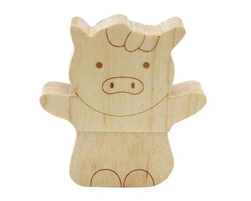 "Флешка Деревянная Свинка Вуди ""Woody Pig"" F157"