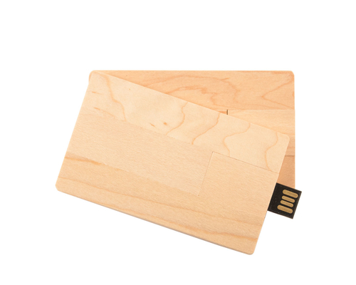 "Флешка Деревянная Визитка ""Business Card Wood"" F27 бежевый 256 Гб"