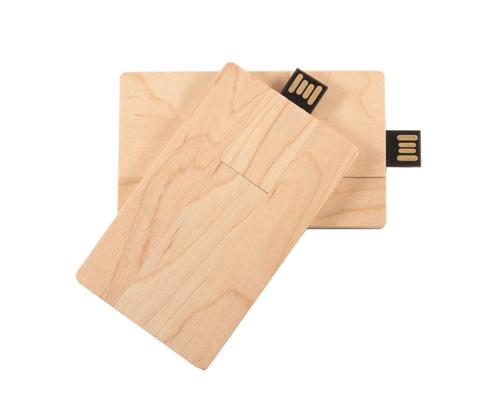 "Флешка Деревянная Визитка ""Business Card Wood"" F27 бежевый 16 Гб"