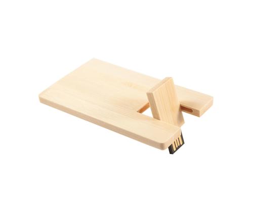 """Флешка Деревянная Визитка """"Business Card Wood"""" F27 желтый 1 Гб"""