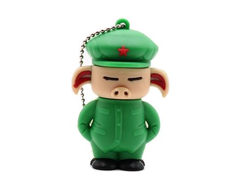 """Флешка Резиновая Свинка Солдат """"Pig Soldier"""" Q457"""