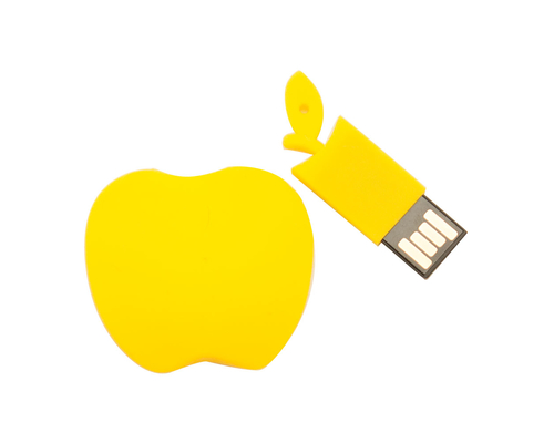 """Флешка Силиконовая Яблоко """"Apple"""" V464 желтый 8 Гб"""