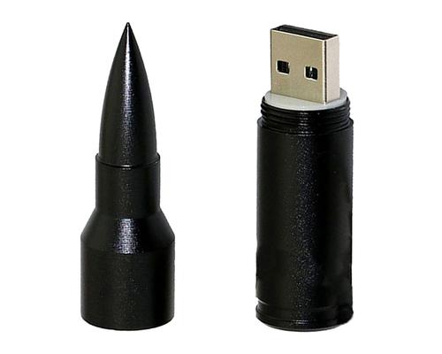 """Флешка Металлическая Пуля """"Bullet"""" R55 черный 4 Гб"""