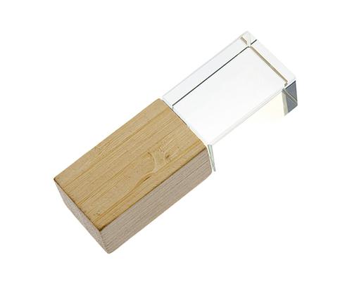 """Флешка Стеклянная Кристалл """"Crystal Glass Wood"""" W83 желтый 256 Гб"""