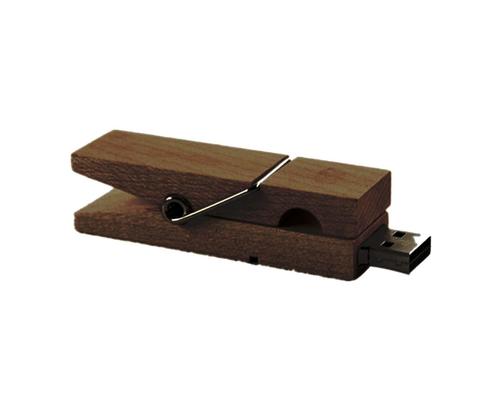 """Флешка Деревянная Прищепка """"Pin Wood"""" F115 коричневая 64 Гб"""