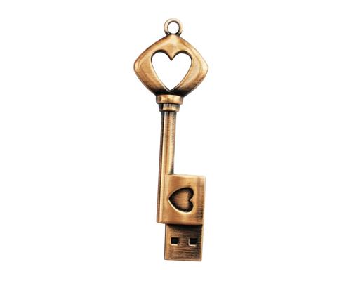 "Флешка Металлическая Ключ Ретро Сердце ""Retro Key Heart"" R81"