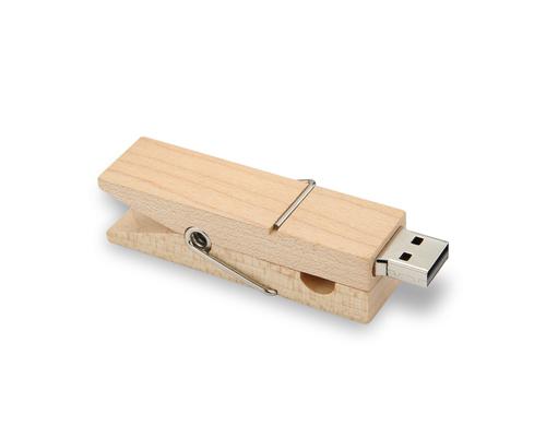 """Флешка Деревянная Прищепка """"Pin Wood"""" F115 белая 16 Гб"""