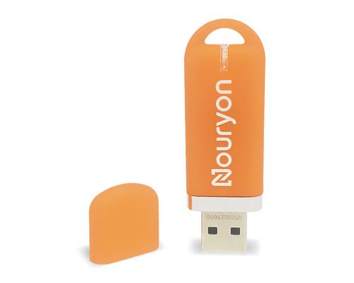 """Флешка Пластиковая Мемо Софт-тач """"Memo Soft-touch"""" S315 оранжевый, уф-печать 1+0"""