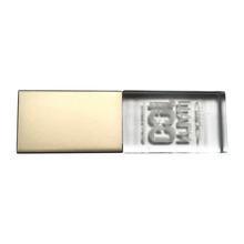 """Флешка Стеклянная Кристалл """"Crystal Glass Metal"""" W14 серебряный матовый, гравировка 3D"""