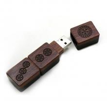 "Флешка Деревянная Маджонг ""Mahjong Wood"" F43 коричневая 512 Гб"