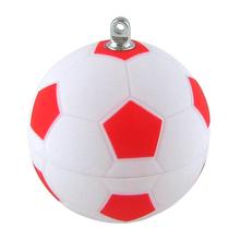 """Флешка Пластиковая Футбольный Мяч """"Soccer Ball"""" S140 белый / красный матовый 4 Гб"""