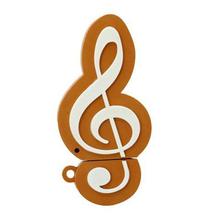 """Флешка Резиновая Скрипичный Ключ """"Treble Clef"""" Q151 оранжево-белый 4 Гб"""