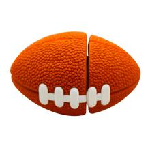 """Флешка Резиновая Мяч Регби """"Rugby Ball"""" Q164 оранжевый 4 Гб"""