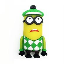 """Флешка Резиновая Миньон Гольфист """"Minion Golfer"""" Q355 желтый-зеленый 4 Гб"""