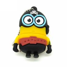 "Флешка Резиновая Миньон Пират ""Minion Pirate"" Q355 желтый-черный 4 Гб"