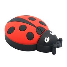 """Флешка Резиновая Божья Коровка """"Ladybug"""" Q382 красная / черная 16 Гб"""