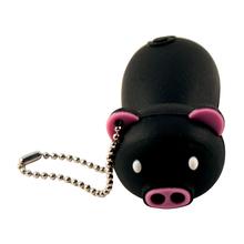 """Флешка Резиновая Поросенок """"Piggy"""" Q430 черный 4 Гб"""
