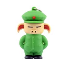 """Флешка Резиновая Свинка Солдат """"Pig Soldier"""" Q457 зеленый 4 Гб"""
