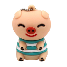 """Флешка Резиновая Поросенок Матрос Блек """"Pig Sailor Black"""" Q458 розовый 4 Гб"""