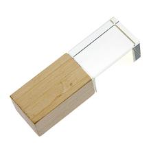 """Флешка Стеклянная Кристалл """"Crystal Glass Wood"""" W83 желтый 4 Гб"""