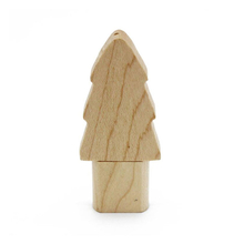 "Флешка Деревянная Новогодняя Елка ""Christmas Tree"" F89 бежевая 4 Гб"