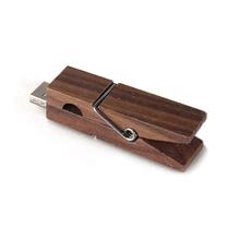 """Флешка Деревянная Прищепка """"Pin Wood"""" F115 коричневая 4 Гб"""