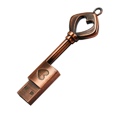 "Флешка Металлический Ключ Ретро ""Retro Key Heart"" R81 бронзовый 32 Гб"