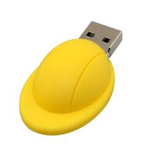"""Флешка Резиновая Каска """"Helmet"""" Q274 желтый 16 Гб"""