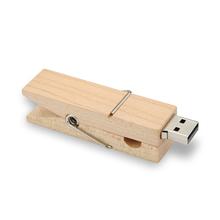 """Флешка Деревянная Прищепка """"Pin Wood"""" F115 белая 4 Гб"""